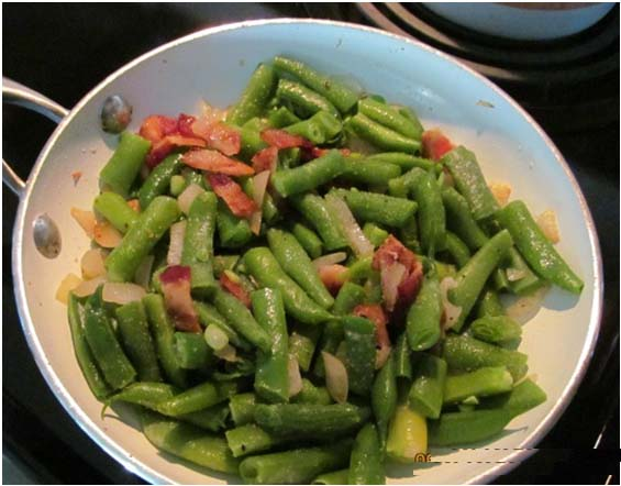 Bacon and Onions and greenbean