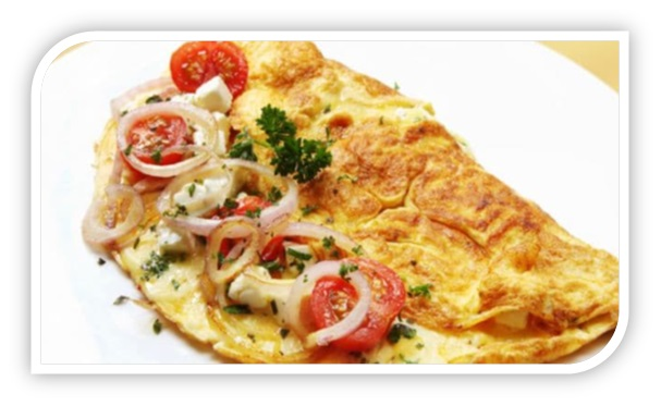 Cheese Omelet with Veggies and Meat