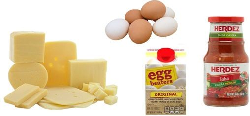Cheese eggs and herdez